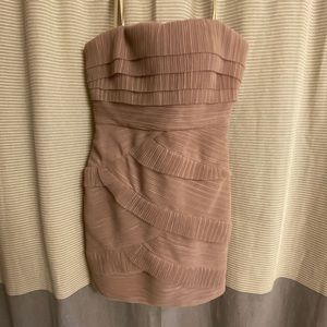 Strapless BCBGMaxazria Taupe Cocktail Dress